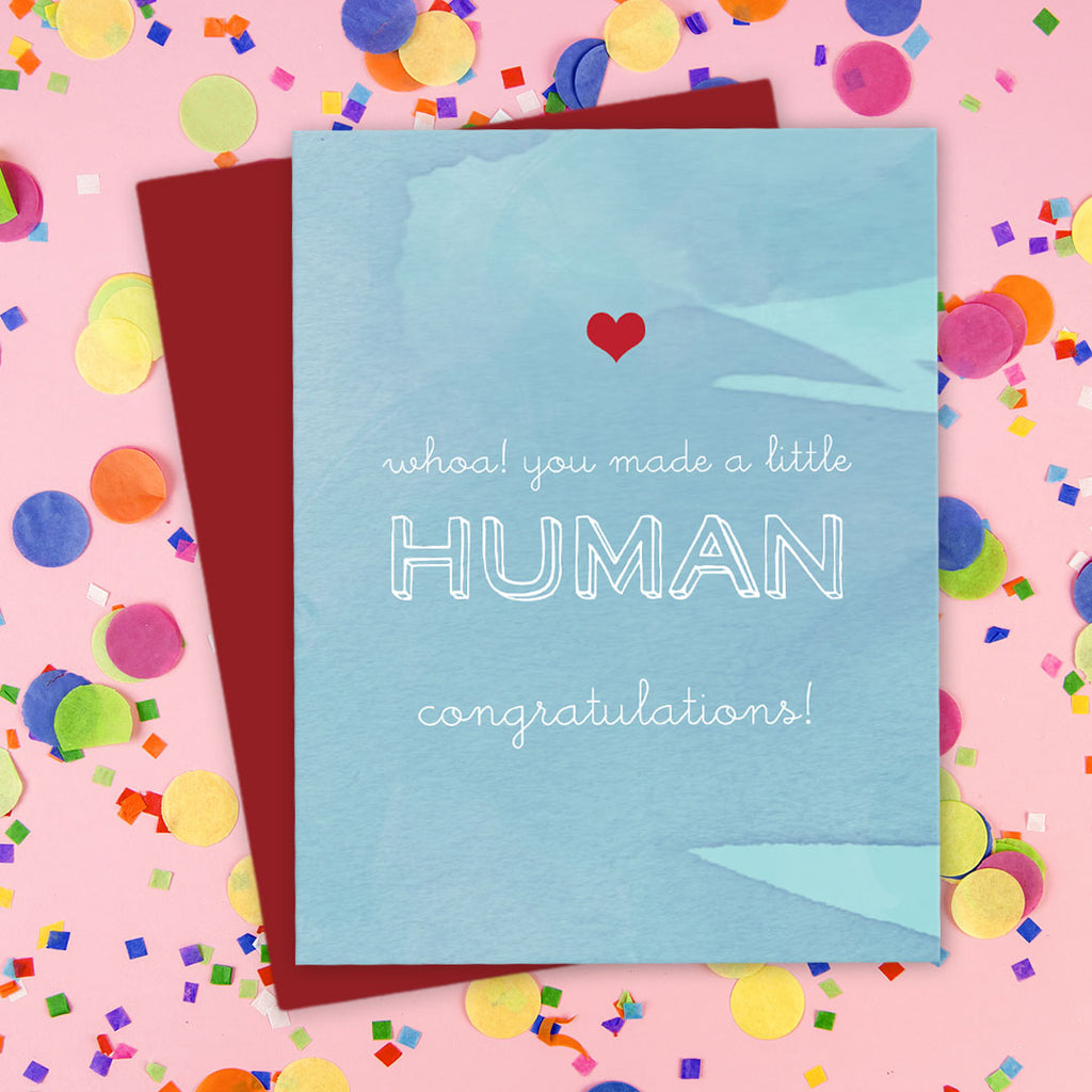 You Made A Little Human Congratulations Cards by The Spotted Olive - Scene
