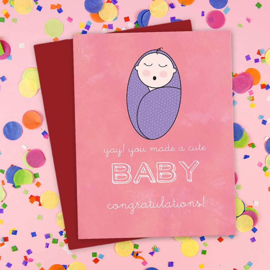 You Made A Cute Baby! Congratulations Card by The Spotted Olive - LST - Scene
