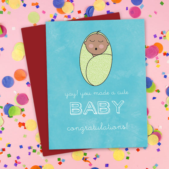 You Made A Cute Baby! Congratulations Card by The Spotted Olive - DST - Blue