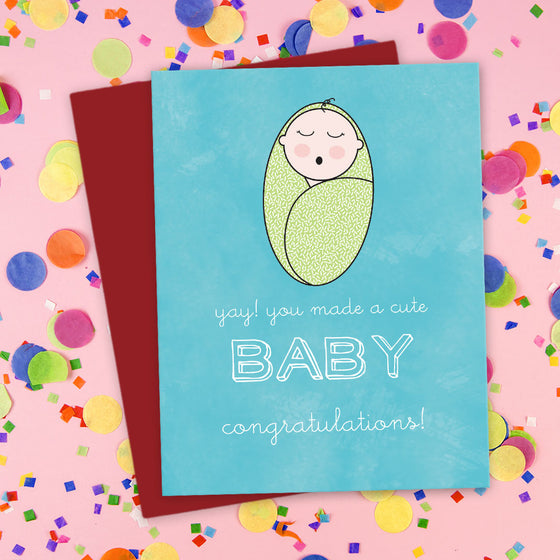 You Made A Cute Baby! Congratulations Card by The Spotted Olive - LST - Blue - Scene