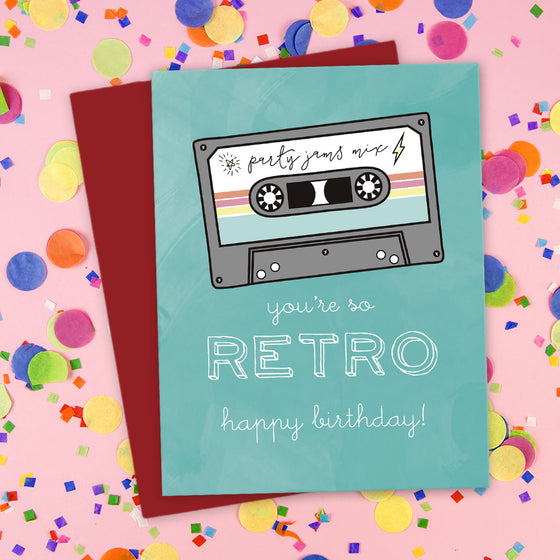 You're So Retro Mix Tape Birthday Card by The Spotted Olive - Scene