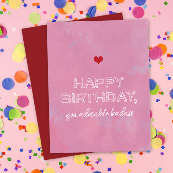 Happy Birthday, You Adorable Badass Card by The Spotted Olive - Scene