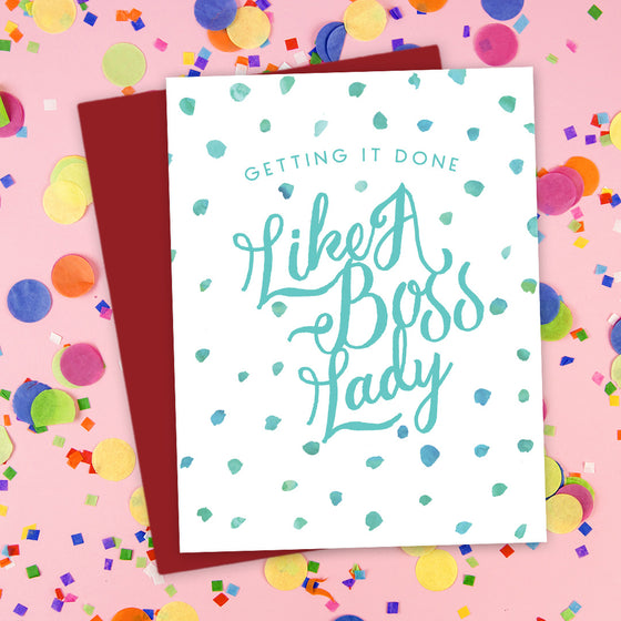 Like A Boss Lady Friendship Card by The Spotted Olive (Teal) - Scene