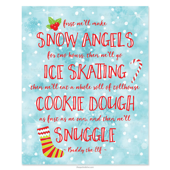 Snuggle Elf Quote Printable Art by The Spotted Olive-Scene
