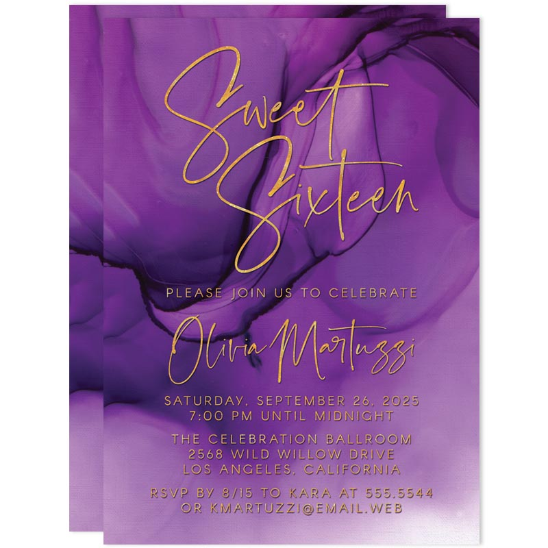 Sweet 16 Party Invitations - Abstract Purple