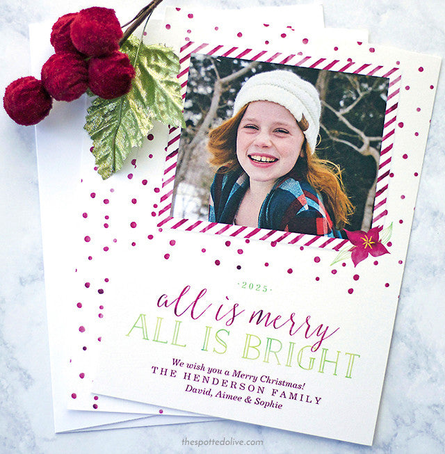 All Is Merry All Is Bright Christmas Holiday Photo Cards by The Spotted Olive - Scene