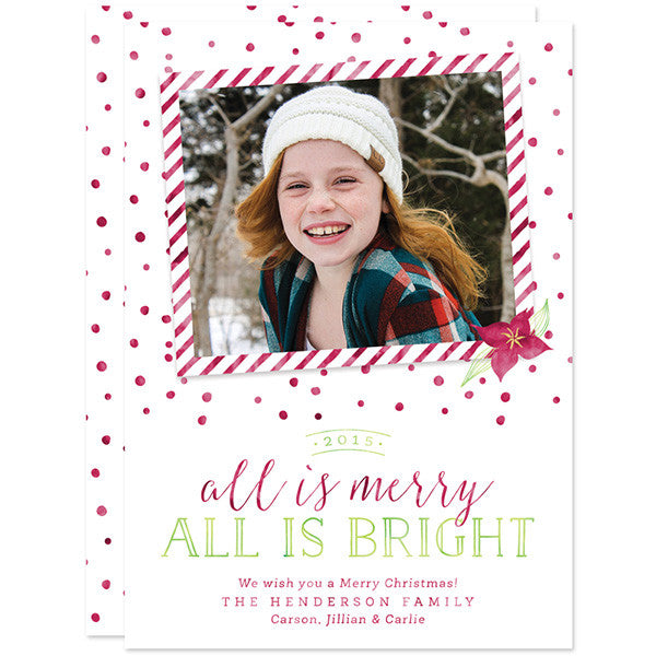 All Is Merry All Is Bright Christmas Holiday Photo Cards by The Spotted Olive