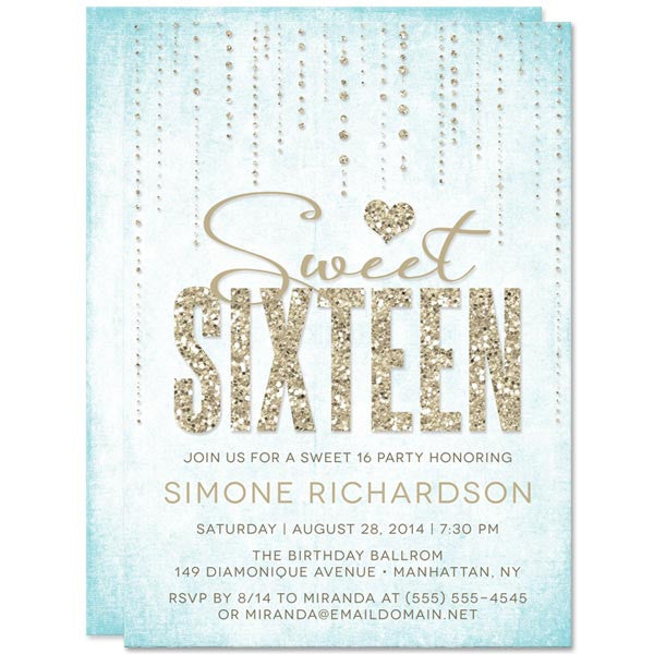 Aqua & Gold Glitter Look Streaming Gems Sweet 16 Invitations by The Spotted Olive