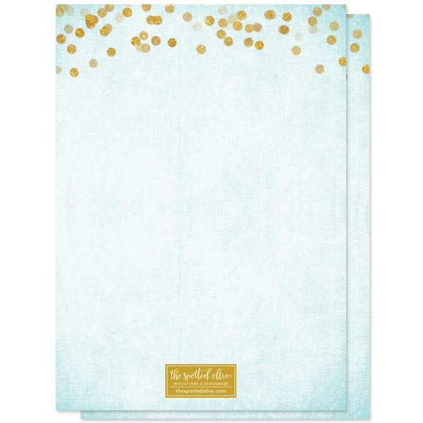 Aqua Blue & Gold Confetti Sweet 16 Invitations by The Spotted Olive - Back