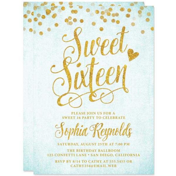 Aqua Blue & Gold Confetti Sweet 16 Invitations by The Spotted Olive