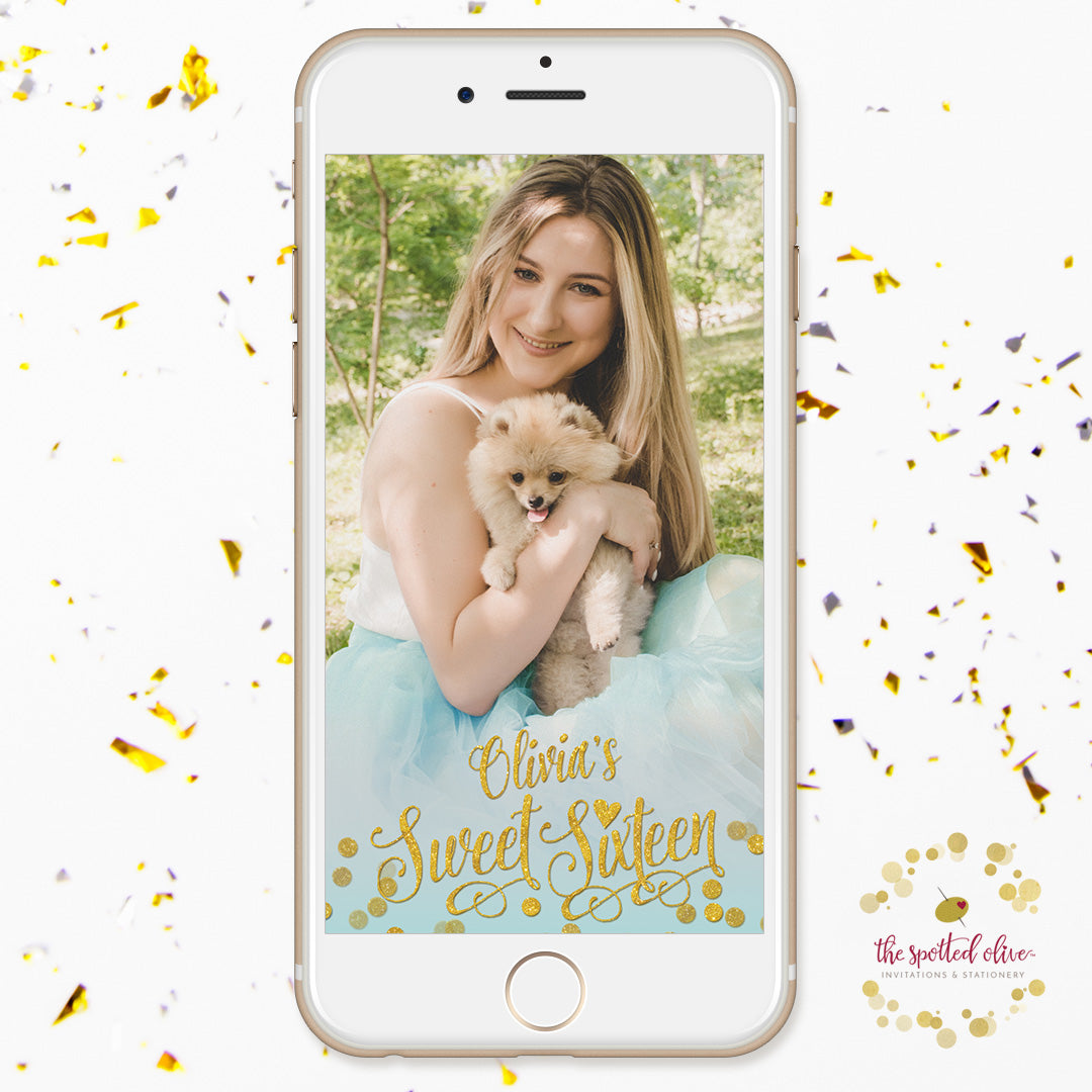 Aqua Blue & Gold Confetti Sweet 16 Personalized Snapchat Filter