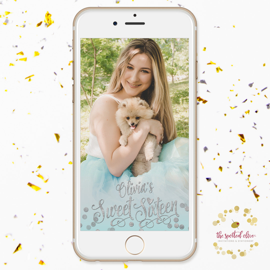 Aqua Blue & Silver Confetti Sweet 16 Personalized Snapchat Filter by The Spotted Olive