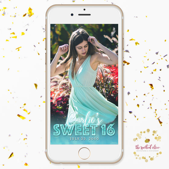 Turquoise Glow Sweet 16 Snapchat Geofilter by The Spotted Olive