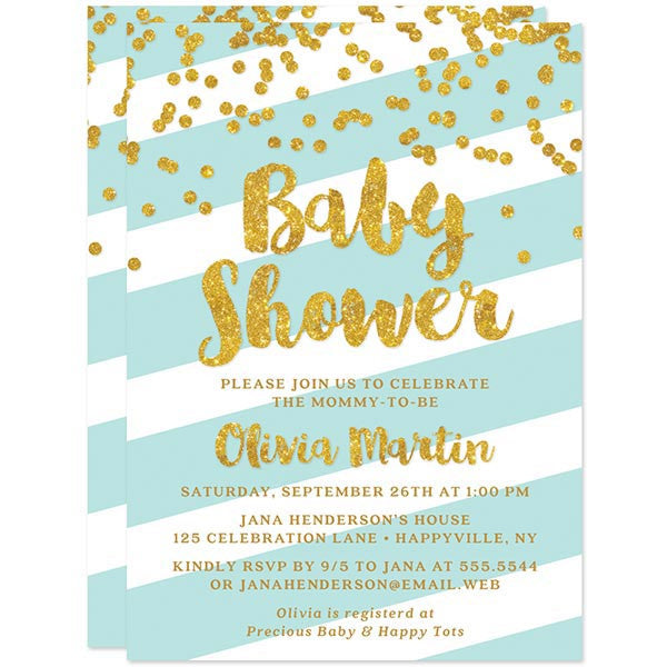 Baby Shower Invitations - Aqua Stripes & Gold Confetti - The Spotted Olive - Back