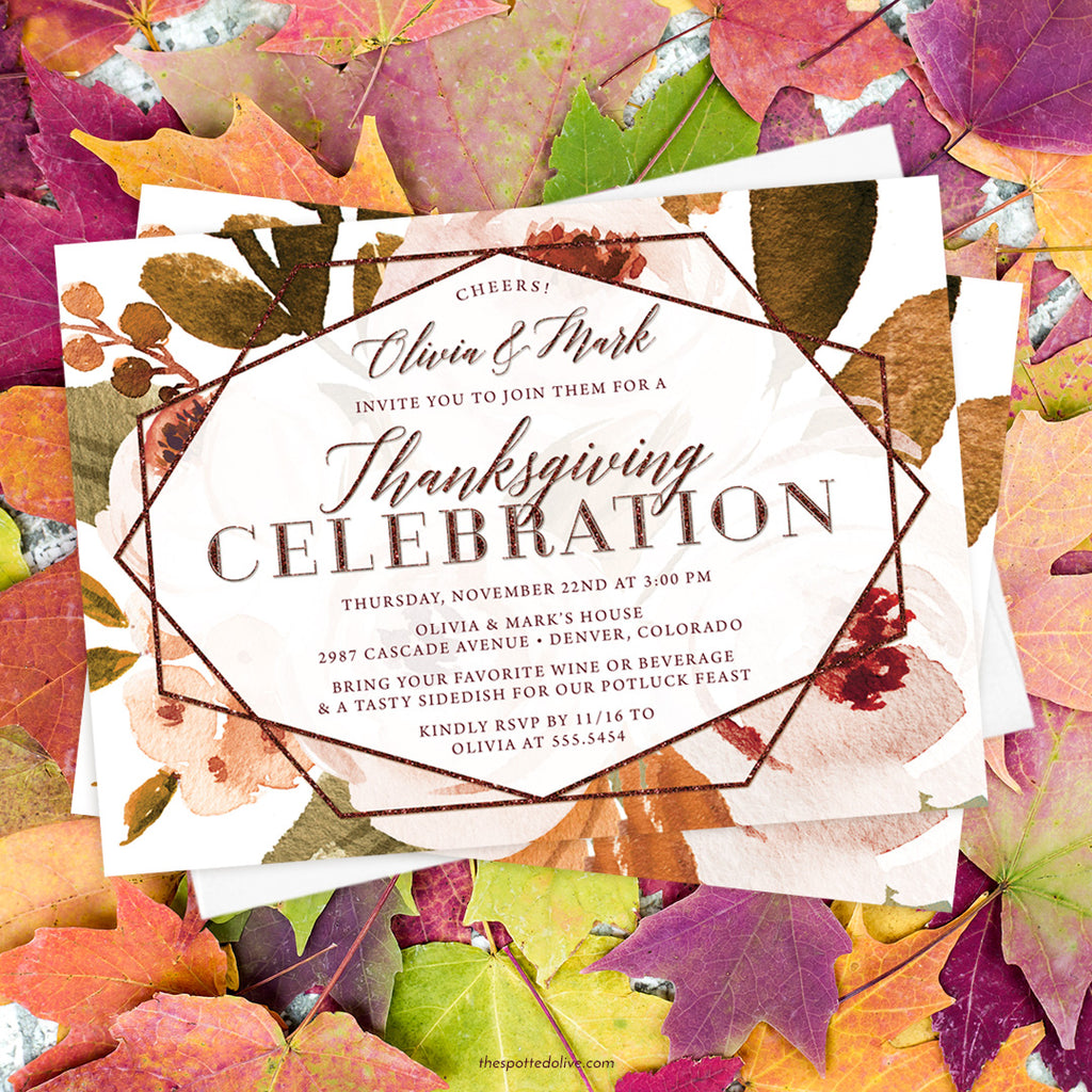 Autumn Florals Thanksgiving Dinner Invitations by The Spotted Olive - Scene