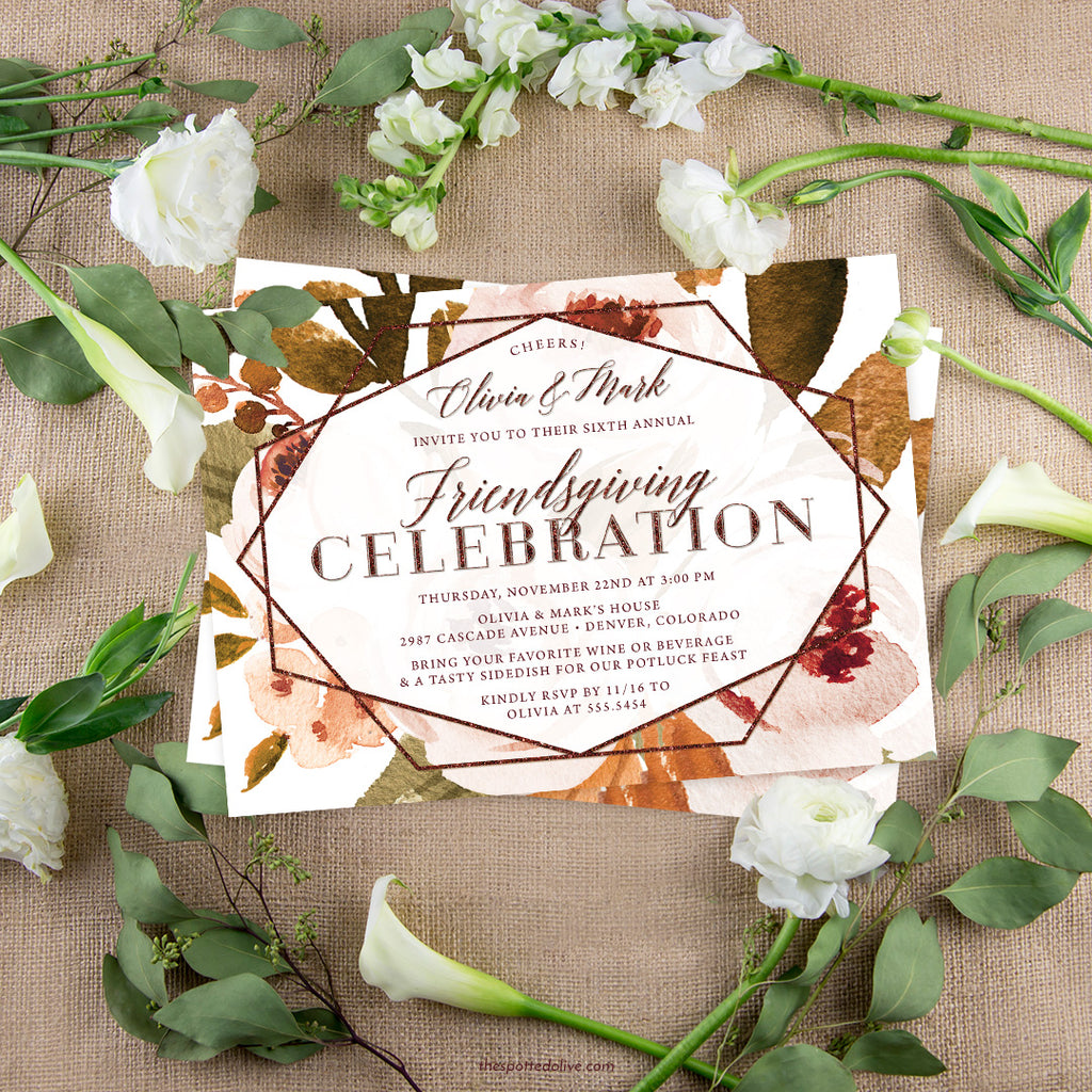 Autumn Florals Friendsgiving Invitations by The Spotted Olive - Scene