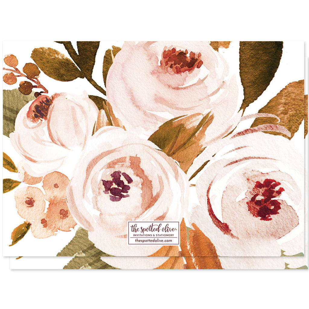 Autumn Florals Thanksgiving Dinner Invitations by The Spotted Olive - Back