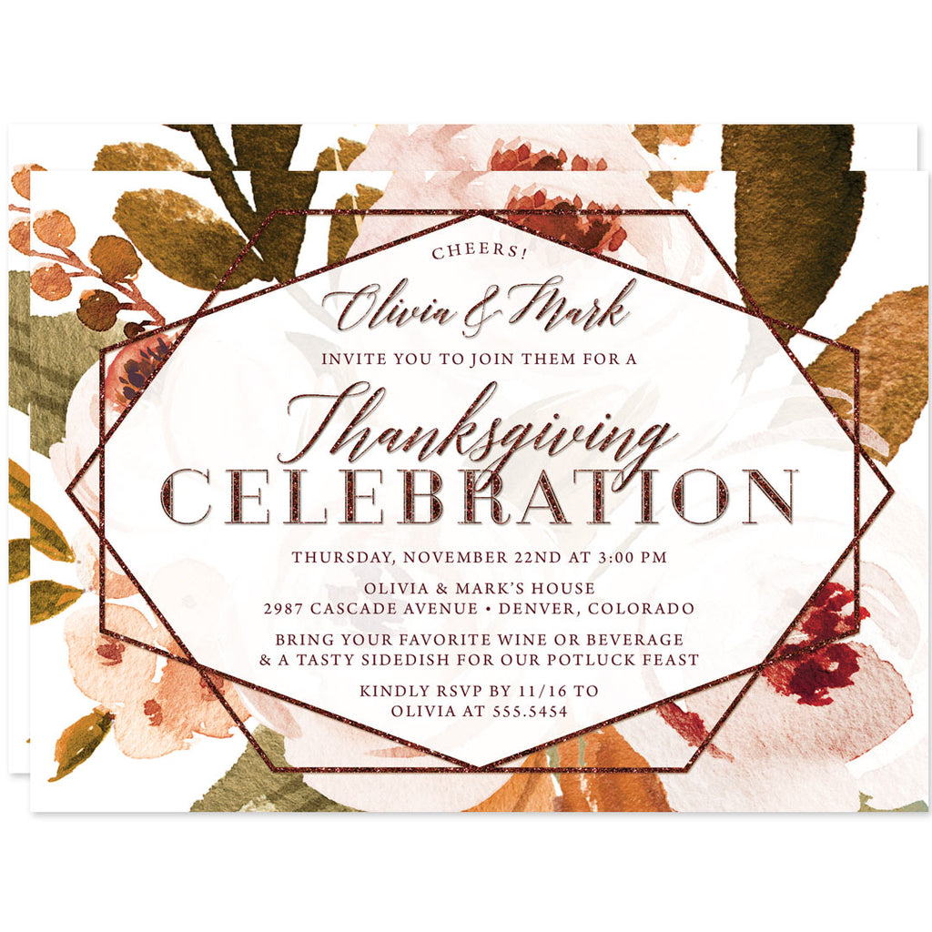 Autumn Florals Thanksgiving Dinner Invitations by The Spotted Olive