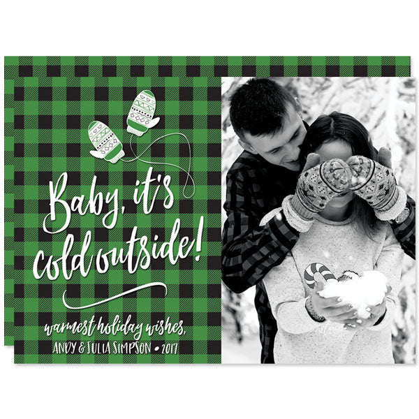 Baby, It's Cold Outside Buffalo Plaid Holiday Photo Cards by The Spotted Olive