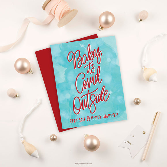 Baby, It's Covid Outside Holiday Card by The Spotted Olive
