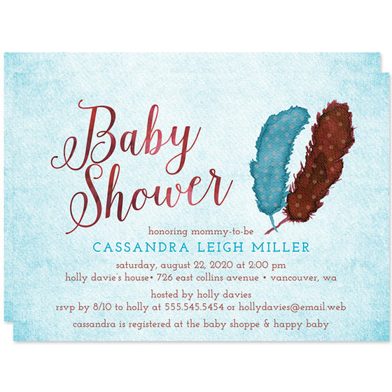 Baby Shower Invitations   Boho Painted Feathers   The Spotted Olive