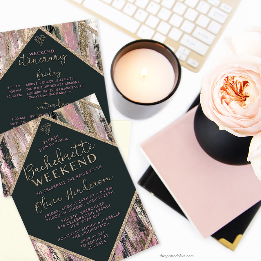Modern Brushstrokes Bachelorette Weekend Invitations by The Spotted Olive - Scene