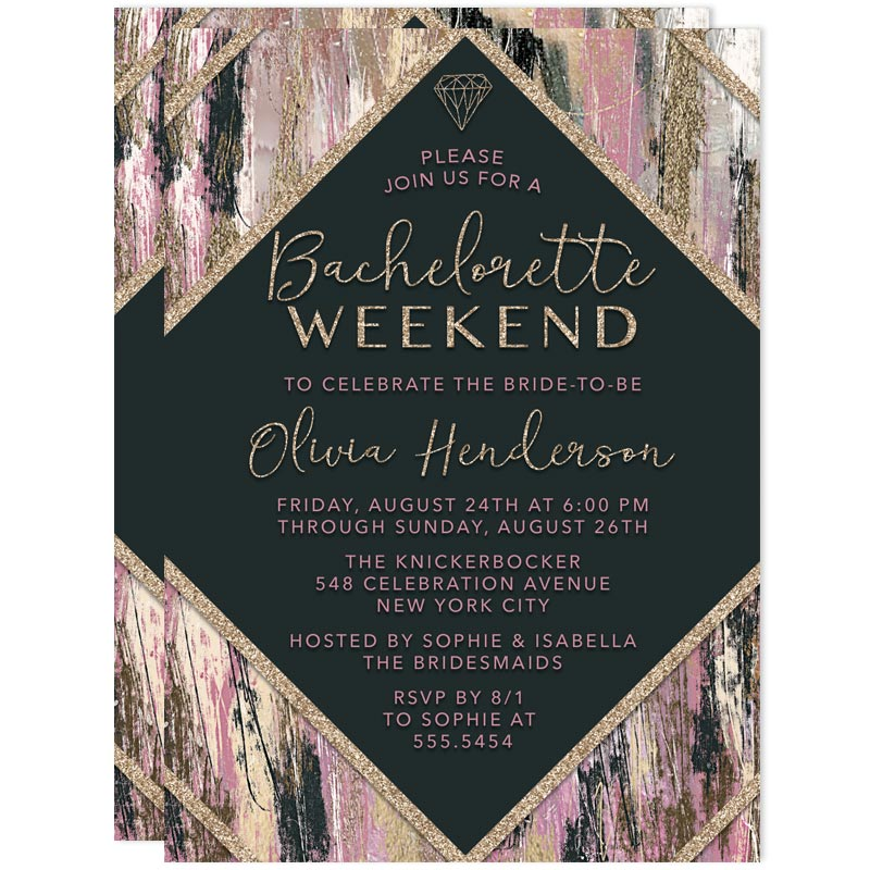 modern brushstrokes bachelorette weekend invitations the spotted