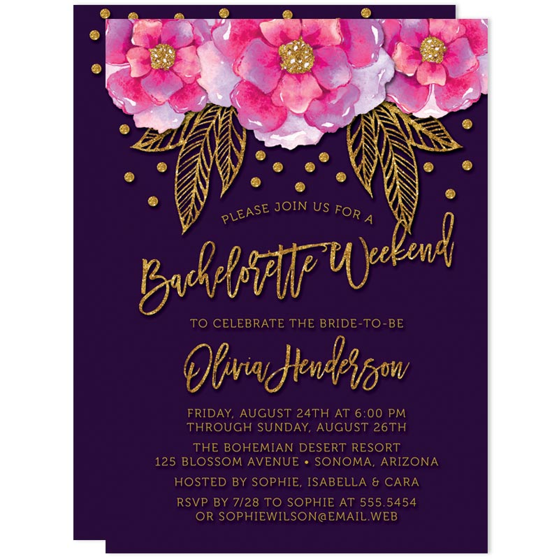 bohemian violet bachelorette weekend invitations the spotted olive