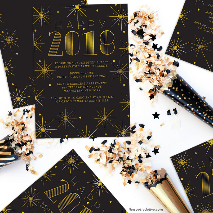 Black & Gold Burst New Year's Eve Party Invitations by The Spotted Olive - Scene
