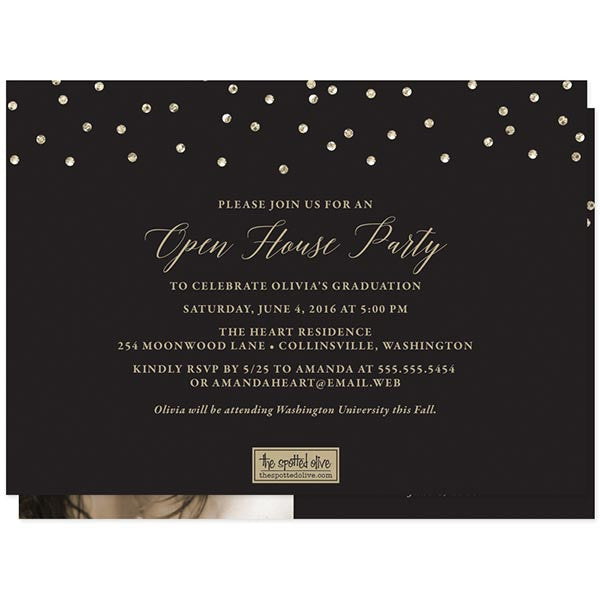 Black & Gold Glitter Graduation Announcements - Class of 2016 by The Spotted Olive back
