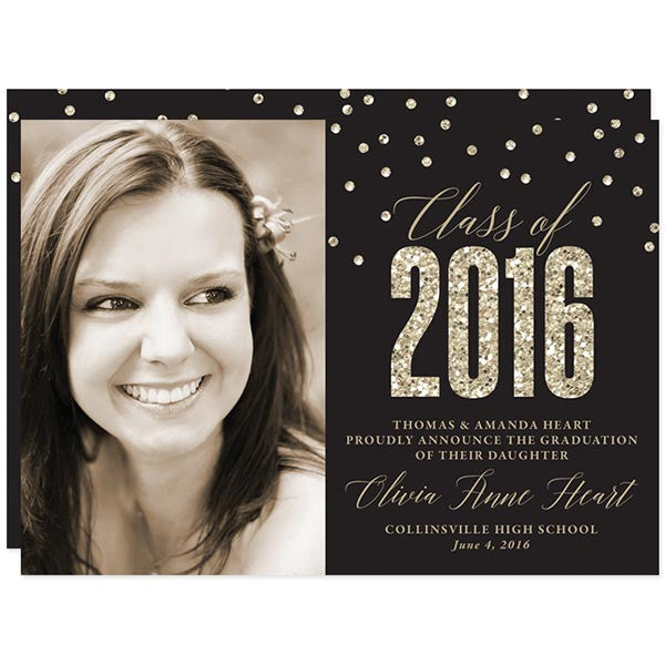 Black & Gold Glitter Graduation Announcements - Class of 2016 by The Spotted Olive