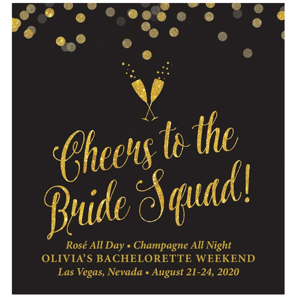Black & Gold Confetti Bachelorette Party Wine Labels by The Spotted Olive