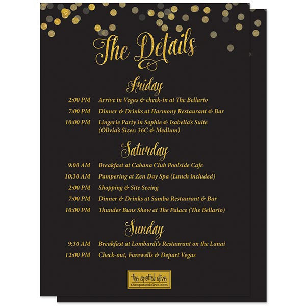 Bachelorette Weekend Invitations - Black & Gold Confetti - The Spotted Olive - Back