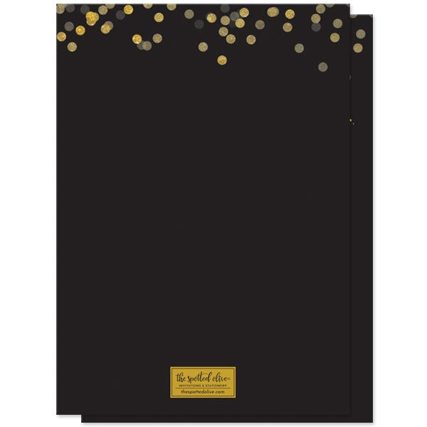 Black & Gold Confetti Cocktails & Nibbles Birthday Party Invitations by The Spotted Olive - Back
