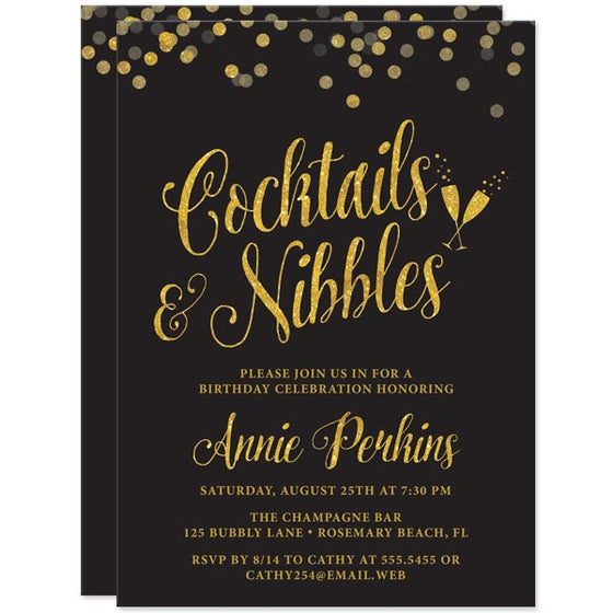 Black & Gold Confetti Cocktails & Nibbles Birthday Party Invitations by The Spotted Olive