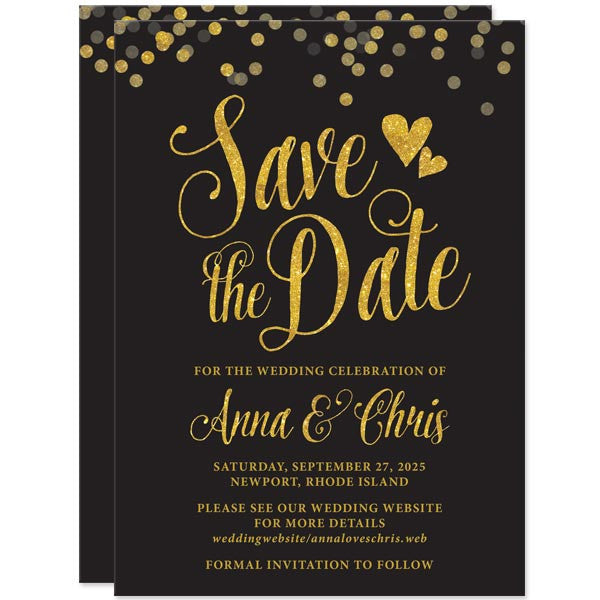 save the date cards black gold confetti the spotted olive