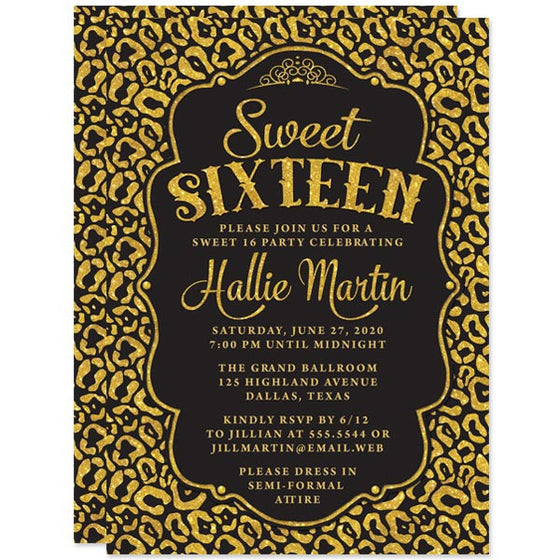 Black & Gold Leopard Print Sweet 16 Party Invitations by The Spotted Olive