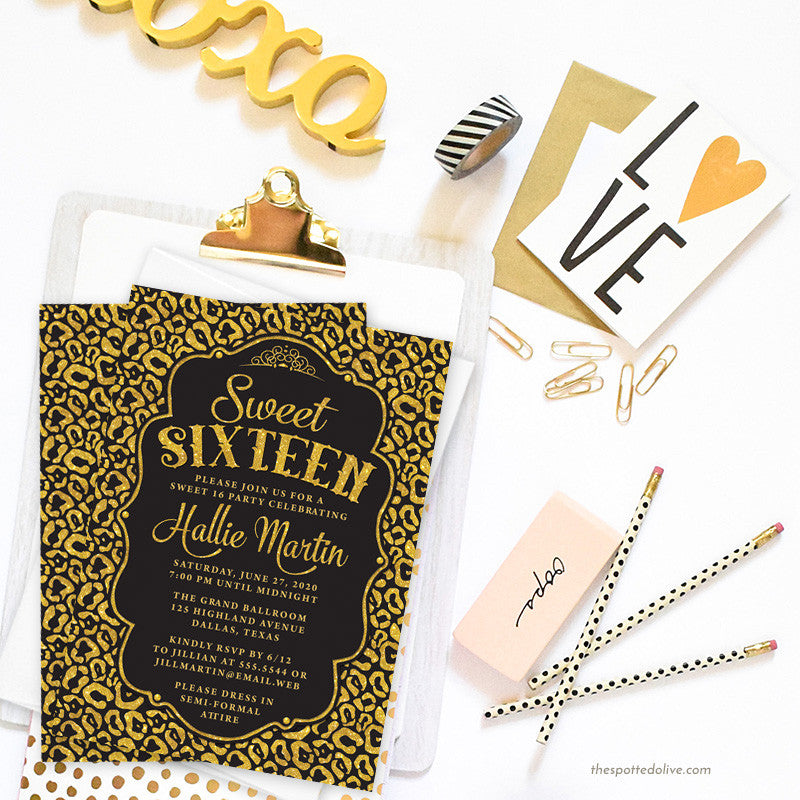 Black & Gold Leopard Print Sweet 16 Party Invitations by The Spotted Olive - Scene