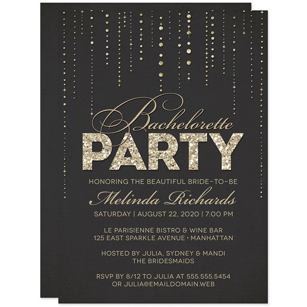 Black & Gold Glitter Look Bachelorette Party Invitations by The Spotted Olive