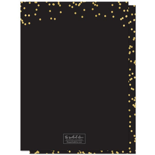 Black Silver & Gold Confetti Sweet 16 Invitations by The Spotted Olive - Back