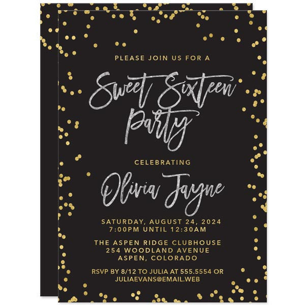 Sweet 16 Invitations Paris Blush Gold Confetti The Spotted Olive