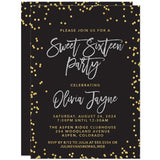 Black Silver & Gold Confetti Sweet 16 Invitations by The Spotted Olive