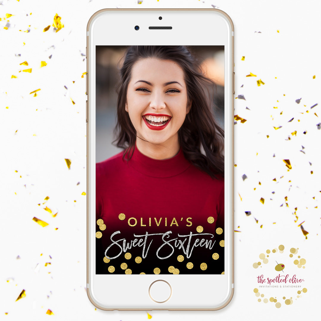 Black Silver & Gold Sweet 16 Personalized Snapchat Geofilter