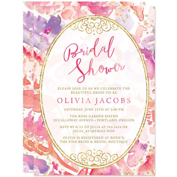 Blissful Blooms Watercolor Floral Bridal Shower Invitations by The Spotted Olive
