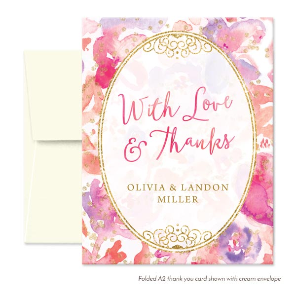Blissful Blooms Watercolor Floral Personalized Thank You Cards by The Spotted Olive - Cream Envelopes