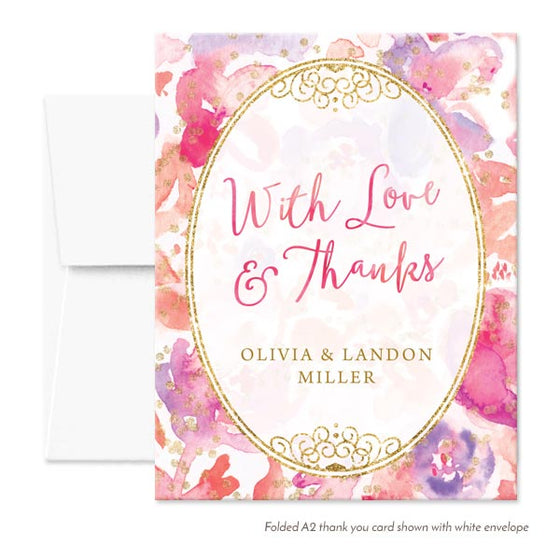 Blissful Blooms Watercolor Floral Personalized Thank You Cards by The Spotted Olive - White Envelopes