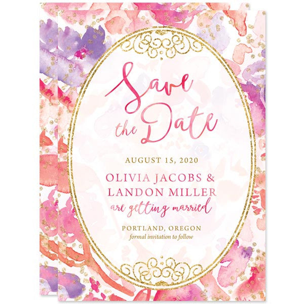Blissful Blooms Watercolor Floral Save The Dates by The Spotted Olive