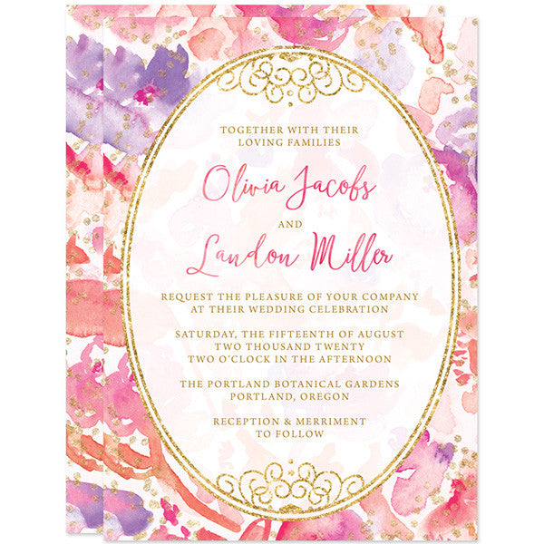 Blissful Blooms Watercolor Floral Wedding Invitations by The Spotted Olive