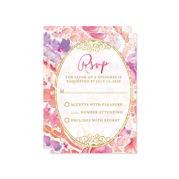 Blissful Blooms Watercolor Floral Wedding RSVP Cards by The Spotted Olive