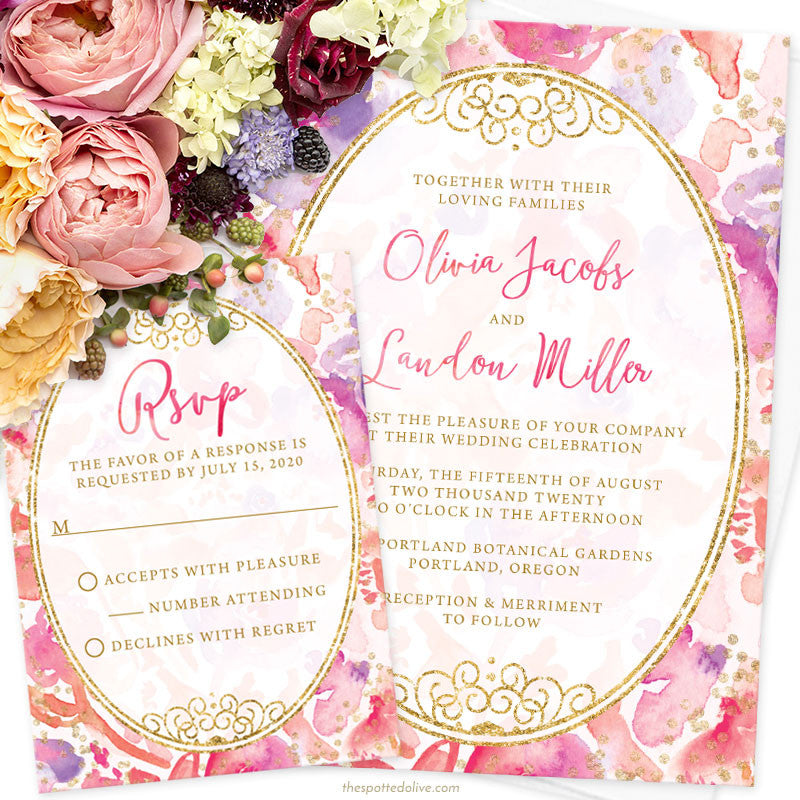 Blissful Blooms Watercolor Floral Wedding Invitations by The Spotted Olive - Scene